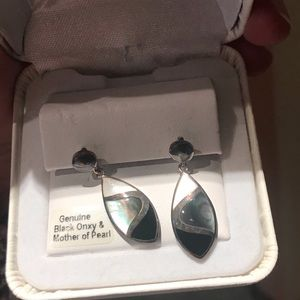 Genuine black onyx and mother of pearl earrings